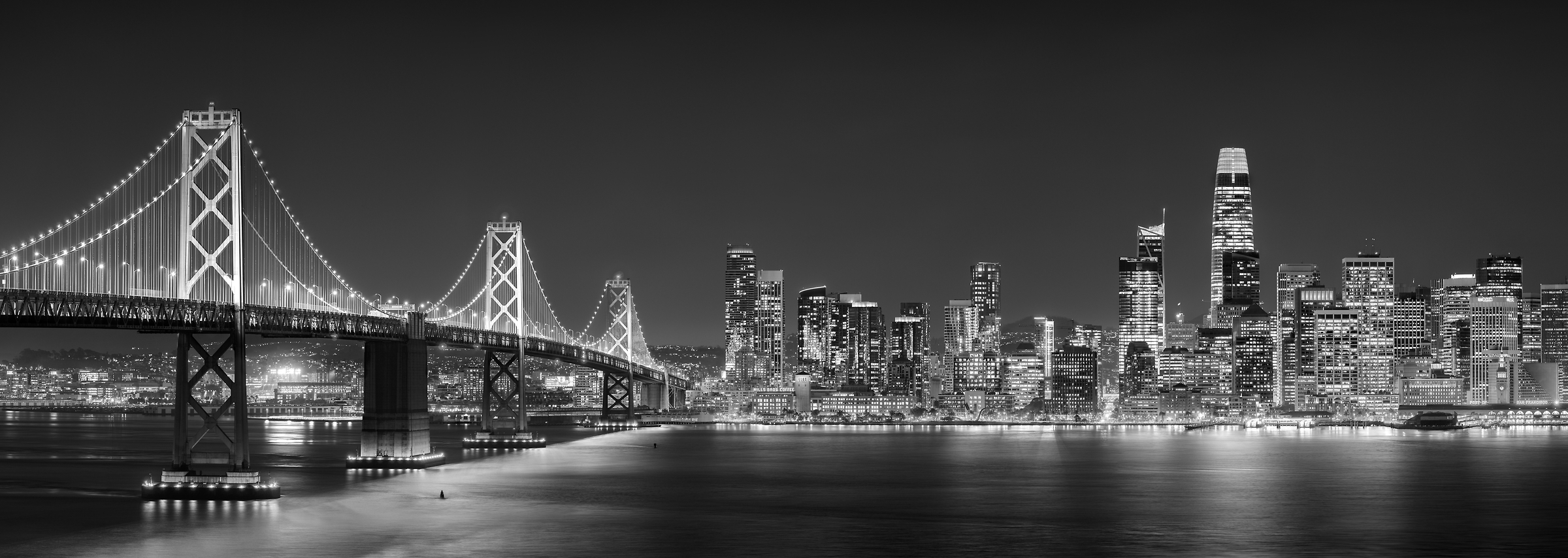 480 megapixels! A very high resolution, large-format VAST photo print of the San Francisco skyline and Bay Bridge at night; black & white cityscape skyline photograph created by Jim Tarpo in Yerba Buena Island and Treasure Island, San Francisco, California