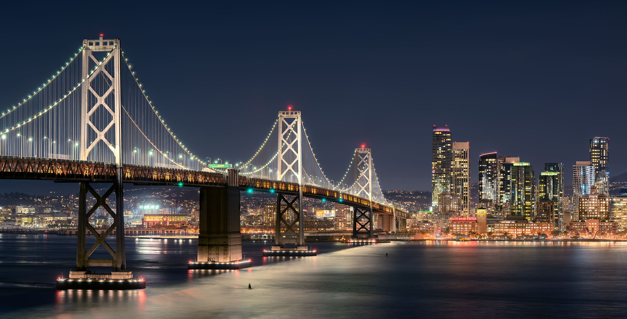 266 megapixels! A very high resolution, large-format VAST photo print of the San Francisco Bay Bridge; photograph created by Jim Tarpo in Yerba Buena Island and Treasure Island, San Francisco, California