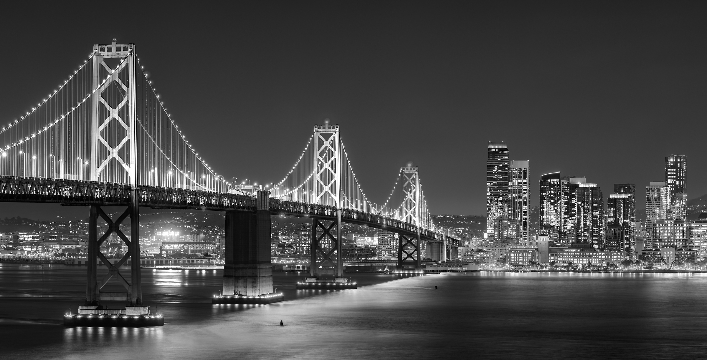 266 megapixels! A very high resolution, large-format VAST photo print of the San Francisco Bay Bridge; black & white photograph created by Jim Tarpo in Yerba Buena Island and Treasure Island, San Francisco, California