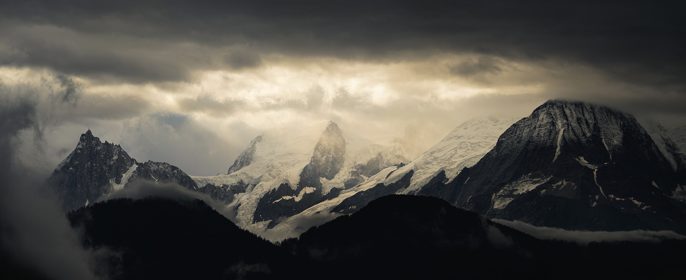 166 megapixels! A very high resolution, large-format VAST photo print of a mountain scene with a moody atmosphere; landscape photograph created by Alexandre Deschaumes.