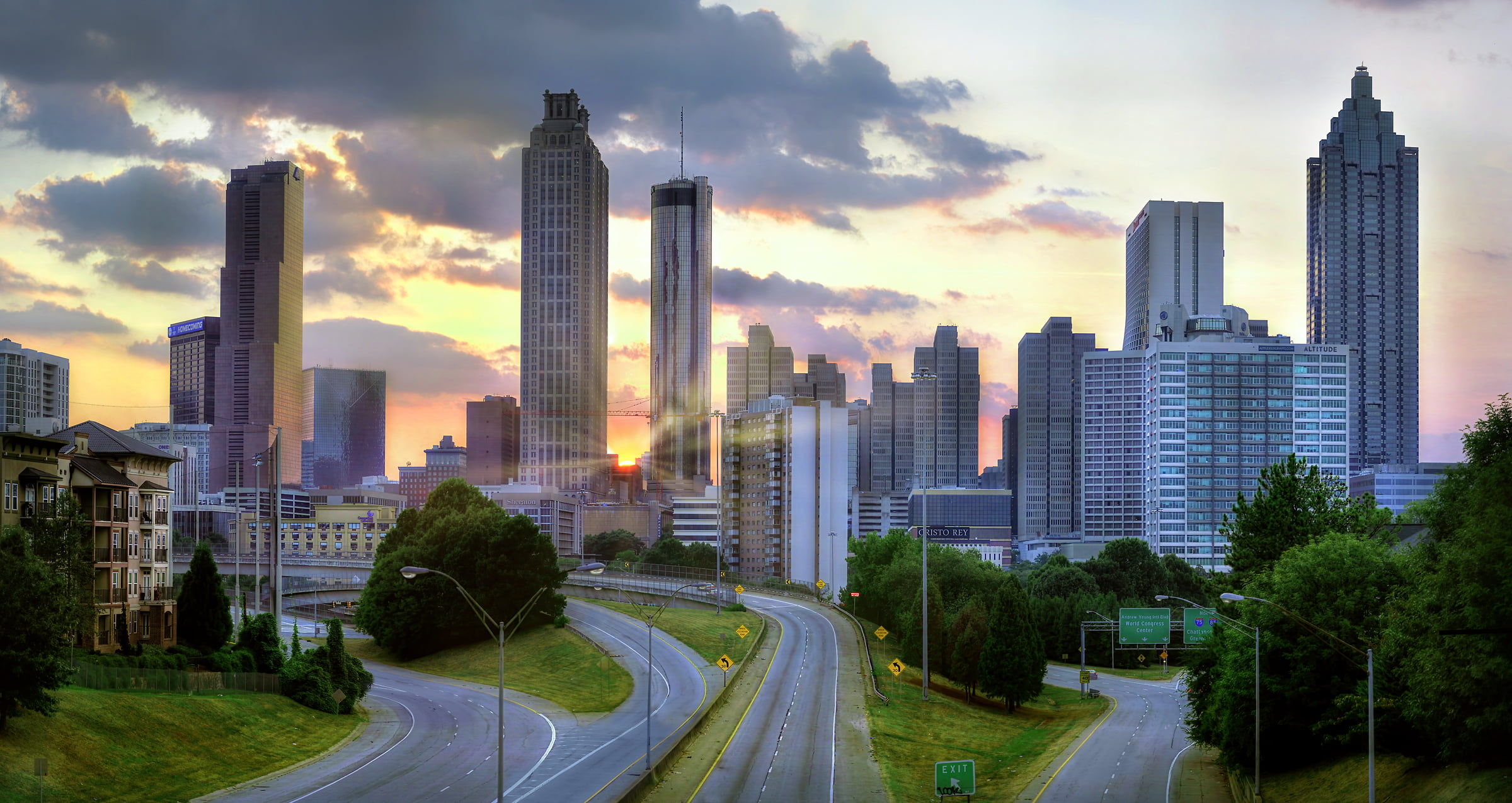 401 megapixels! A very high resolution, large-format VAST photo print of sunset over the downtown Atlanta skyline; cityscape photograph created by Phil Crawshay in Atlanta, Georgia
