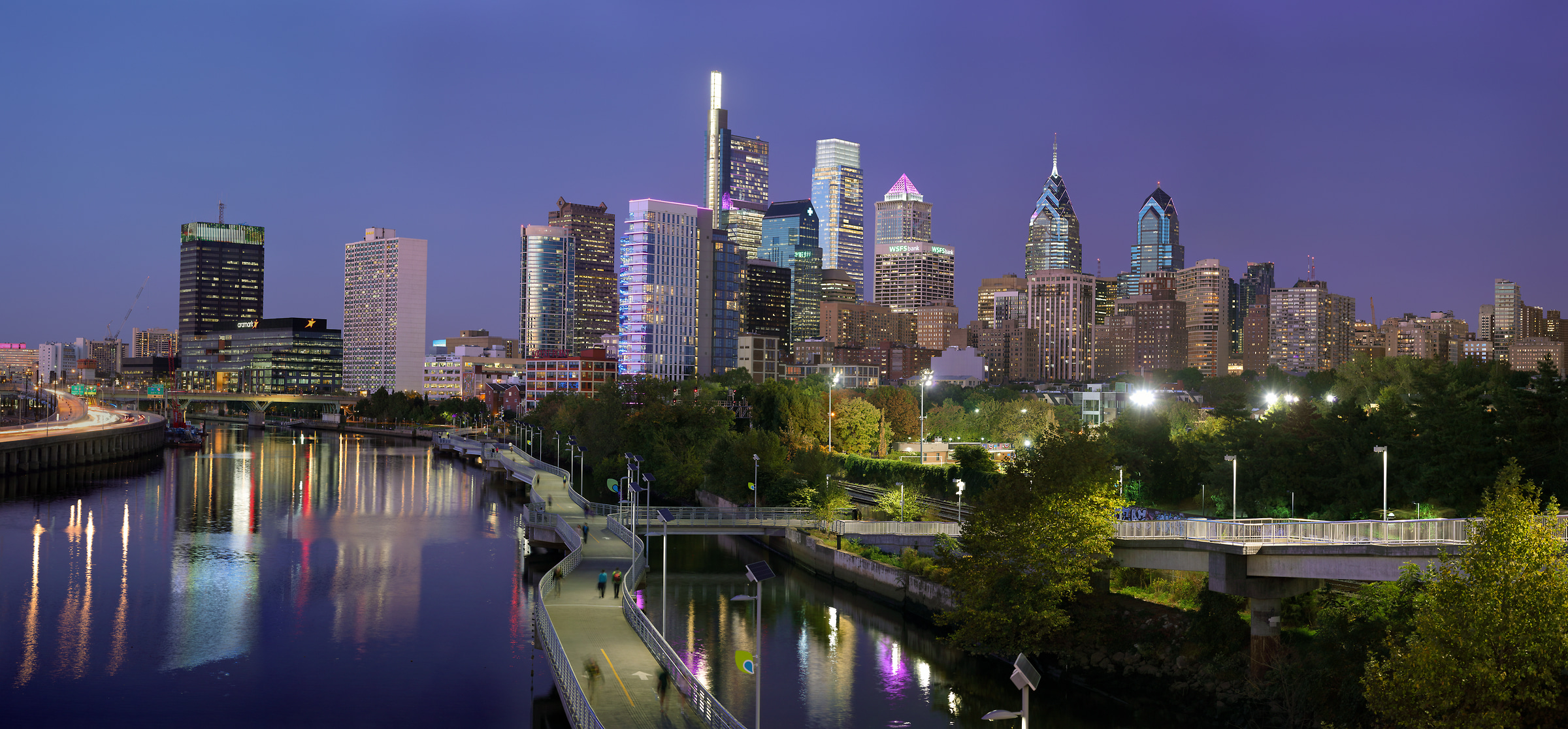 612 megapixels! A very high resolution, large-format VAST photo print of the Philadelphia skyline at dusk; cityscape photograph created by Phil Crawshay in Philadelphia, PA