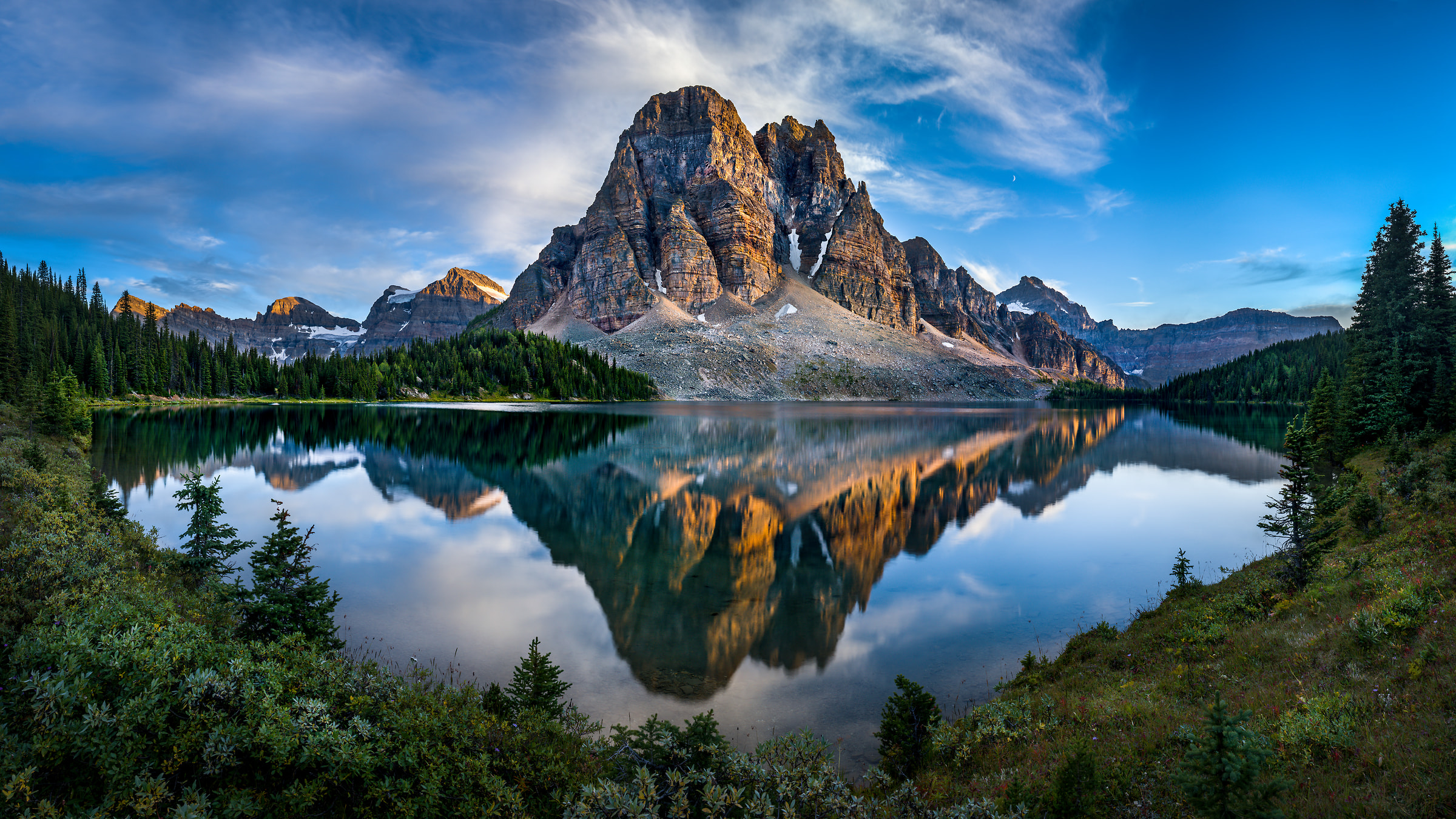 339 megapixels! A very high resolution, large-format VAST photo print of a lake with evergreen trees and a large mountain rockface in the foreground; wilderness landscape photograph created by Tim Shields in Sunburst Mountain, British Columbia, Canada