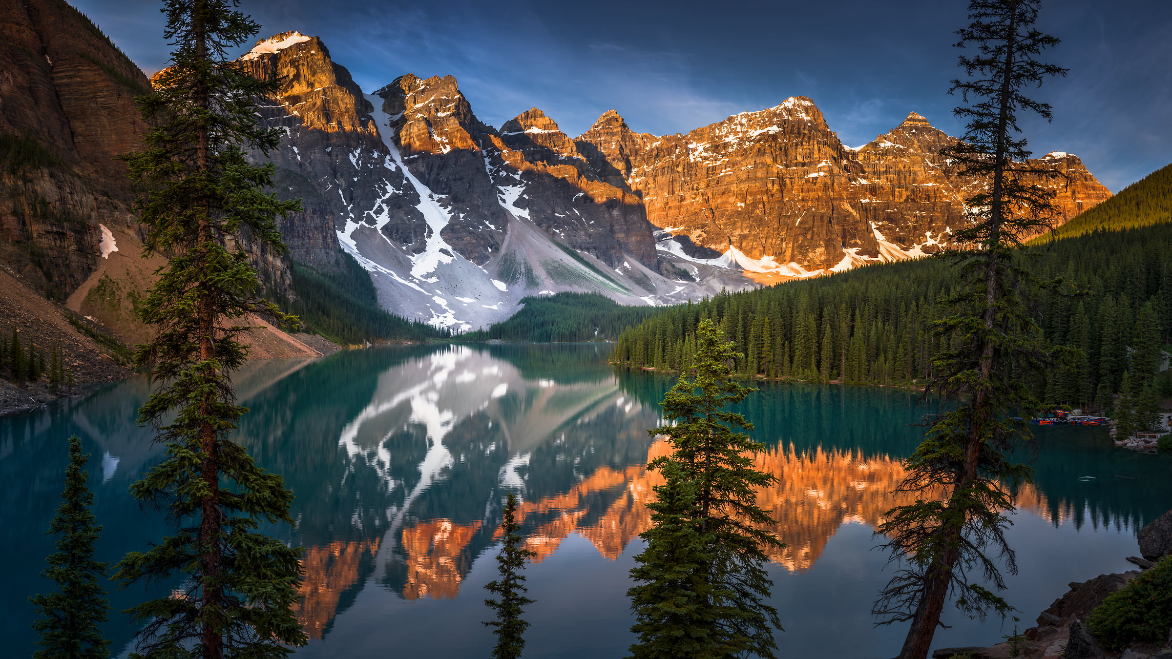 360 megapixels! A very high resolution, large-format VAST photo print of Moraine Lake with trees in the foreground, the lake in the middle and mountains in the background; landscape photograph created by Tim Shields in Moraine Lake, Banff National Park, Canada