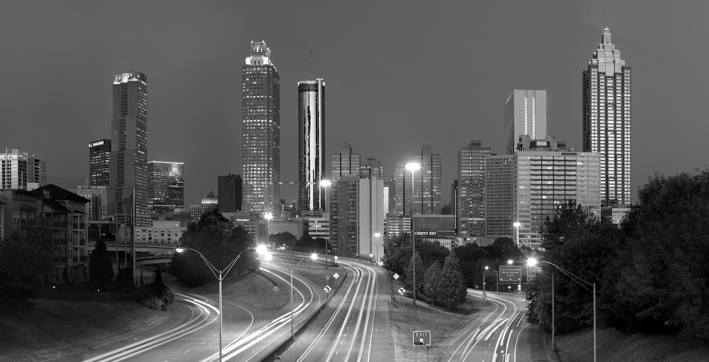 344 megapixels! A very high resolution, large-format VAST print of a black and white photo of Atlanta; photograph created by Phil Crawshay in Jackson Street Bridge, Atlanta Georgia