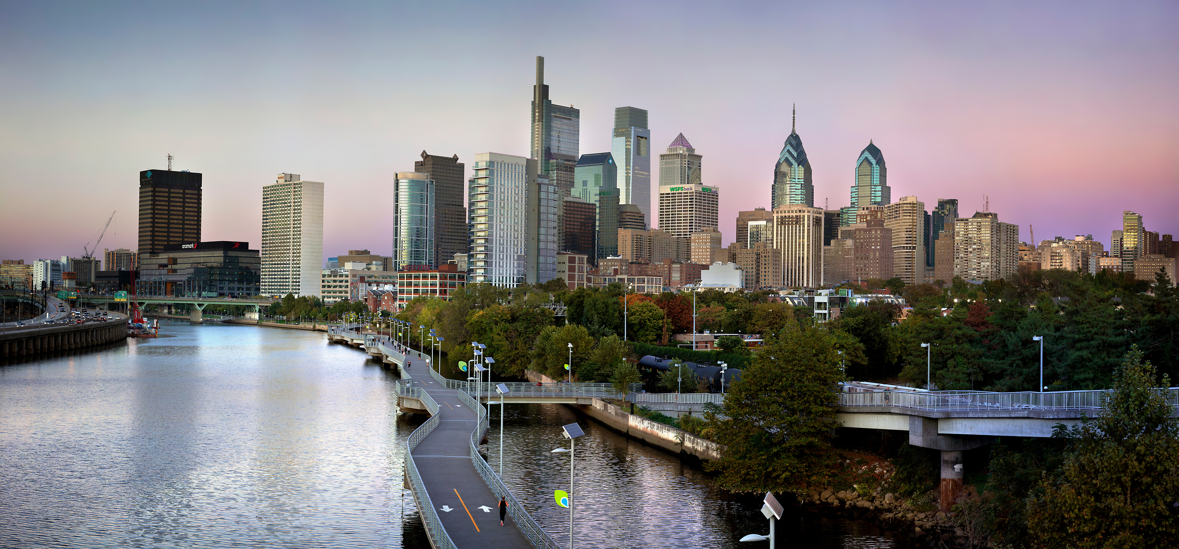 419 megapixels! A very high resolution, large-format VAST photo print of the Philadelphia skyline; photograph created by Phil Crawshay in Downtown Philadelphia