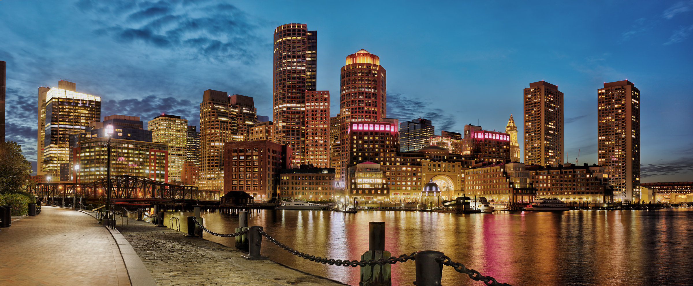 630 megapixels! A very high resolution, large-format VAST photo print of the Boston skyline at night; photograph created by Phil Crawshay in Fan Pier Park, Boston, Massachusetts