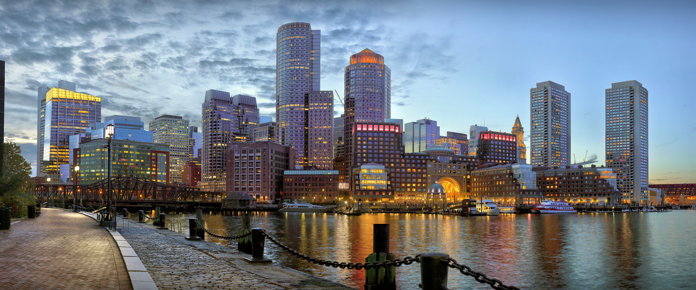 623 megapixels! A very high resolution, large-format VAST photo print of the Boston skyline; photograph created by Phil Crawshay in Fan Pier Park, Boston, Massachusetts