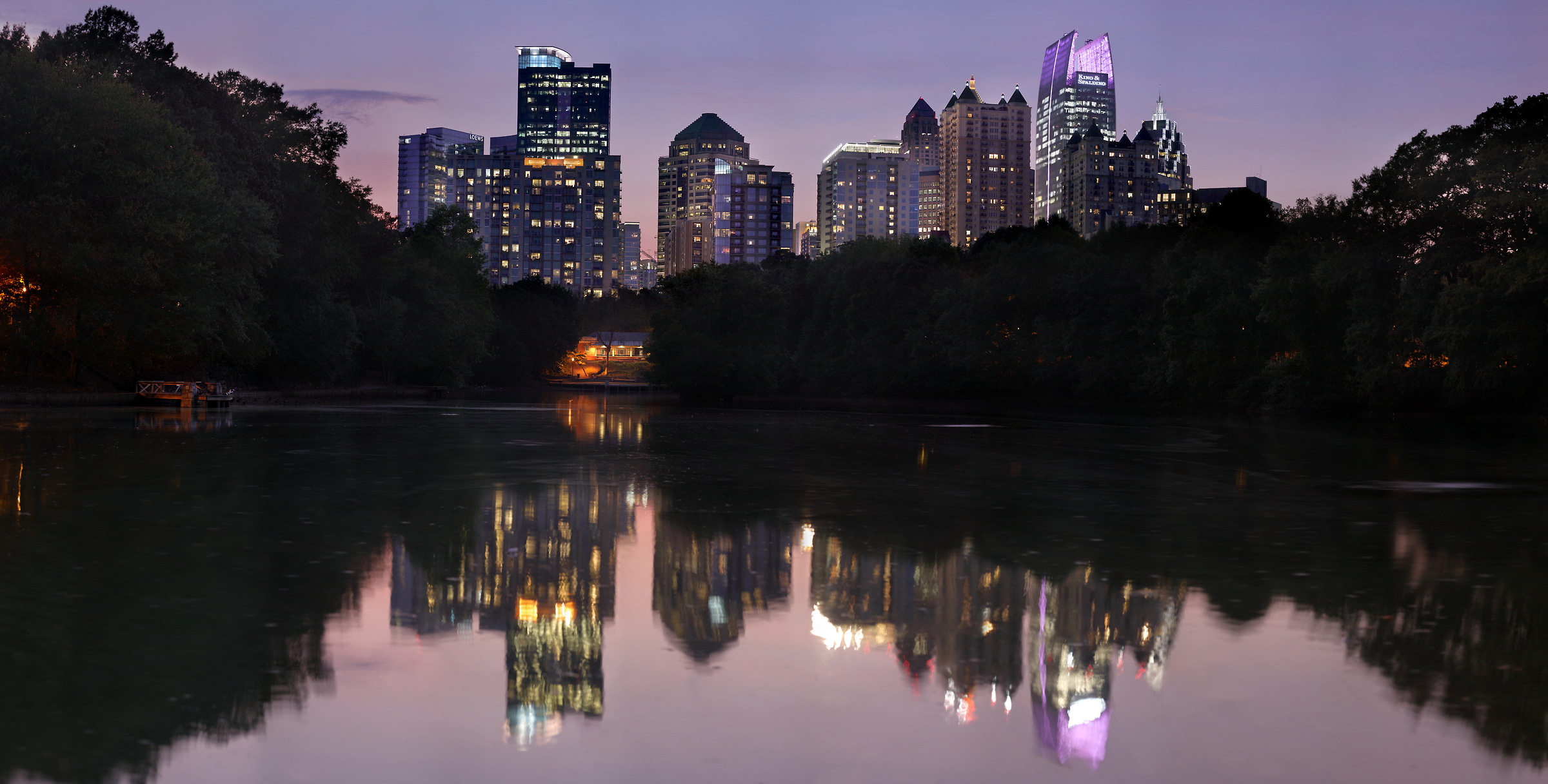 862 megapixels! A very high resolution, large-format VAST photo print of the Atlanta skyline and Piedmont Park at night; photograph created by Phil Crawshay in Piedmont Park, Atlanta, Georgia