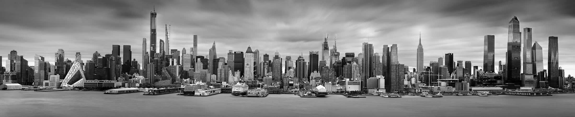 988 megapixels! A very high resolution, big VAST photo print of the New York skyline; black & white photograph created by Phil Crawshay in Weehawken, New Jersey