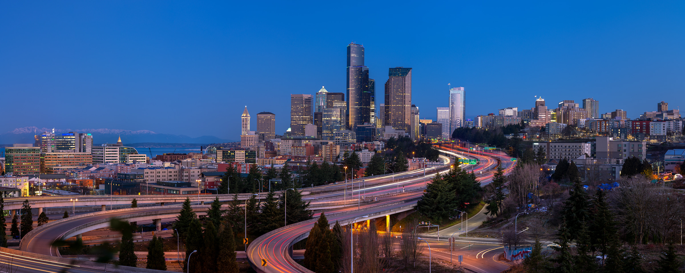 253 megapixels! A very high resolution, large-format VAST photo print of the Seattle skyline in the morning with highways in the foreground; photograph created by Greg Probst in Seattle, Washington