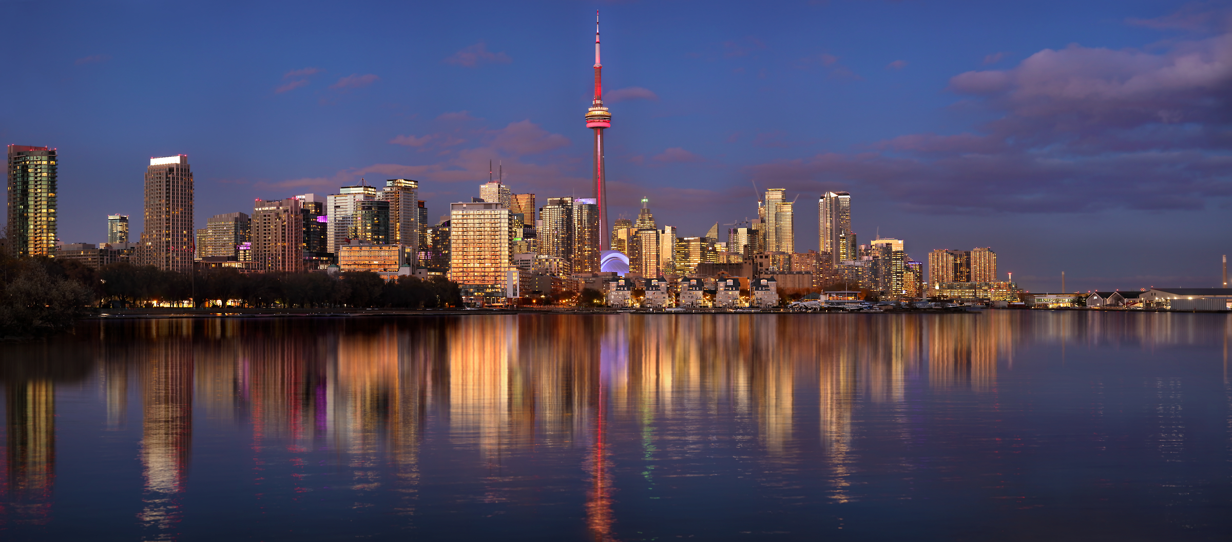 533 megapixels! A very high resolution, large-format VAST photo print of the Toronto skyline at dusk with Lake Ontario in the foreground; cityscape photograph created by Phil Crawshay in Downtown Toronto, Ontario, Canada