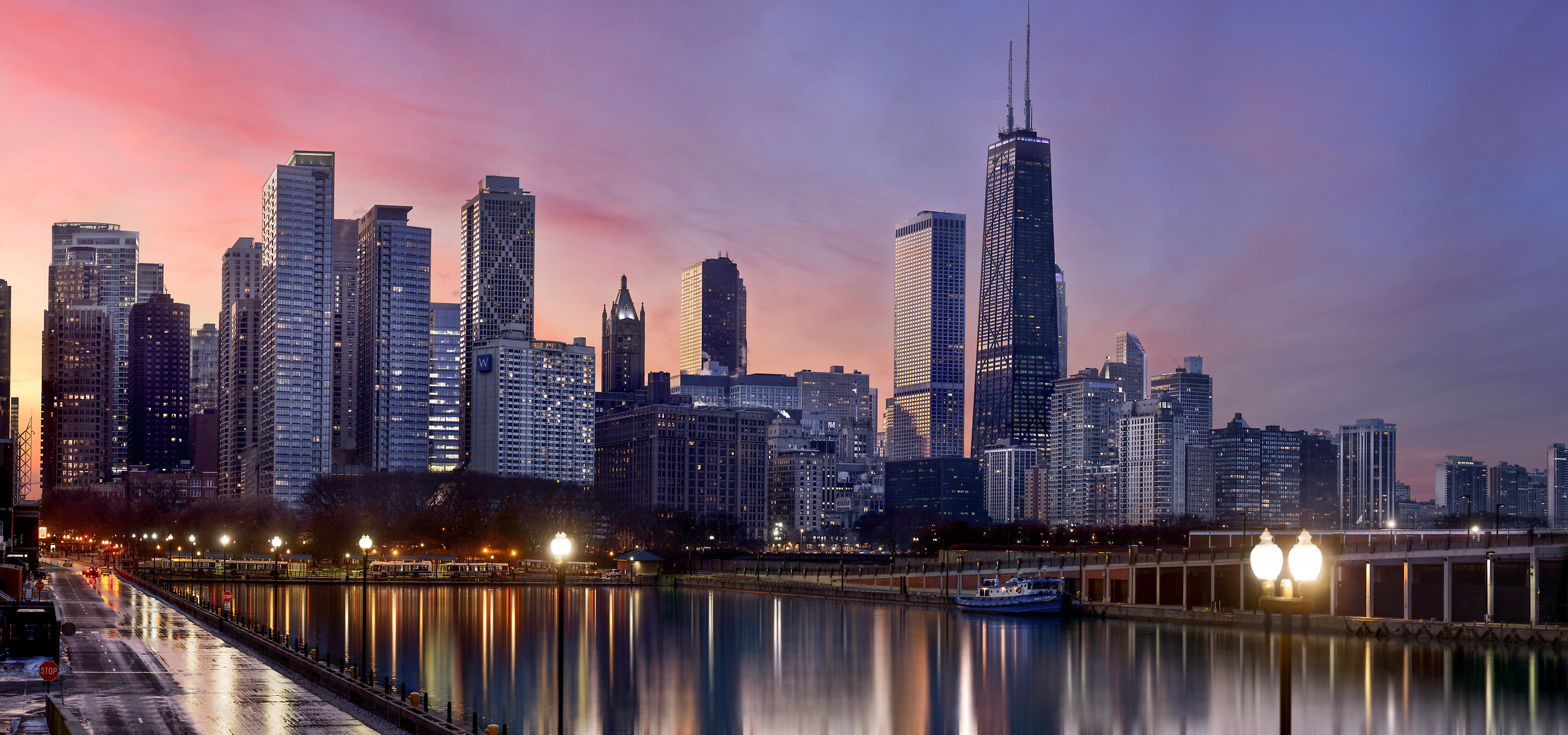 381 megapixels! A very high resolution, large-format VAST photo print of the Chicago skyline at sunset; cityscape photograph created by Phil Crawshay in Chicago, Illinois