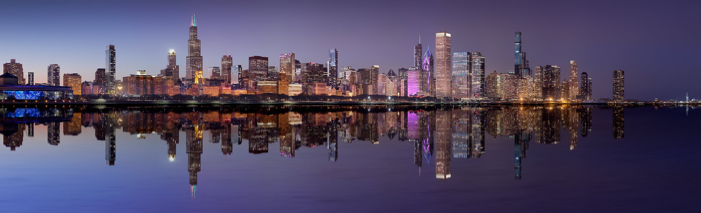 1185 megapixels! A very high resolution, large-format VAST photo print of the Chicago skyline at night with Lake Michigan in the foreground; cityscape photograph created by Phil Crawshay in Chicago, Illinois