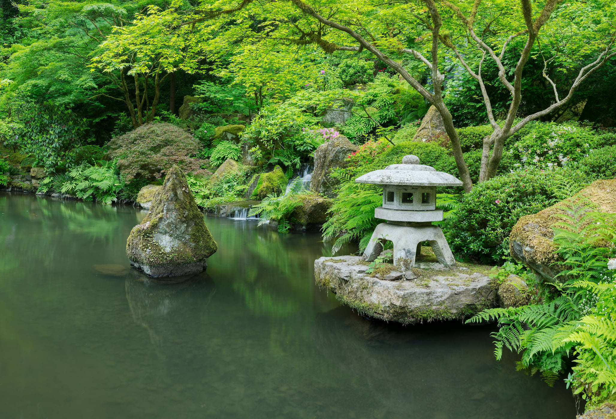 250 megapixels! A very high resolution, large-format VAST photo print of a Japanese garden with a pond and t?r? stone lantern; photograph created by Greg Probst in Japanese Garden in Portland, Oregon