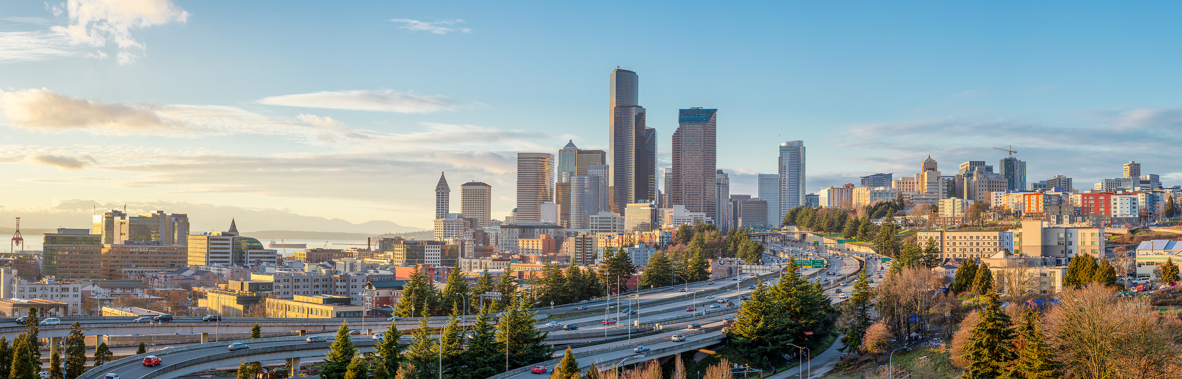 222 megapixels! A very high resolution, large-format, panorama photo print of the Seattle skyline during the day; photograph created by Greg Probst in Seattle, Washington