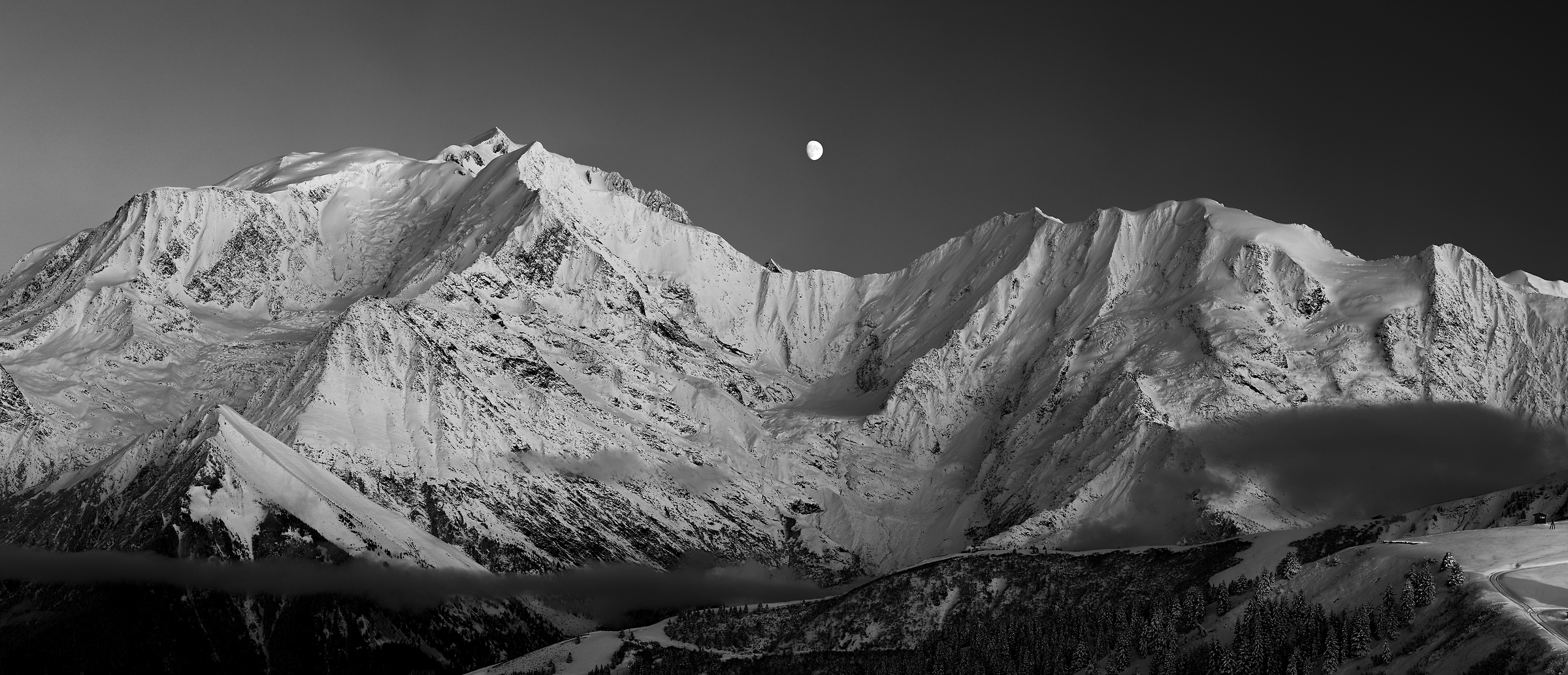 283 megapixels! A very high resolution, large-format VAST photo print of a mountain range with the moon at nighttime; black & white landscape photograph created by Alexandre Deschaumes in Mont Blanc Massif, Saint-Gervais-les-Bains, France