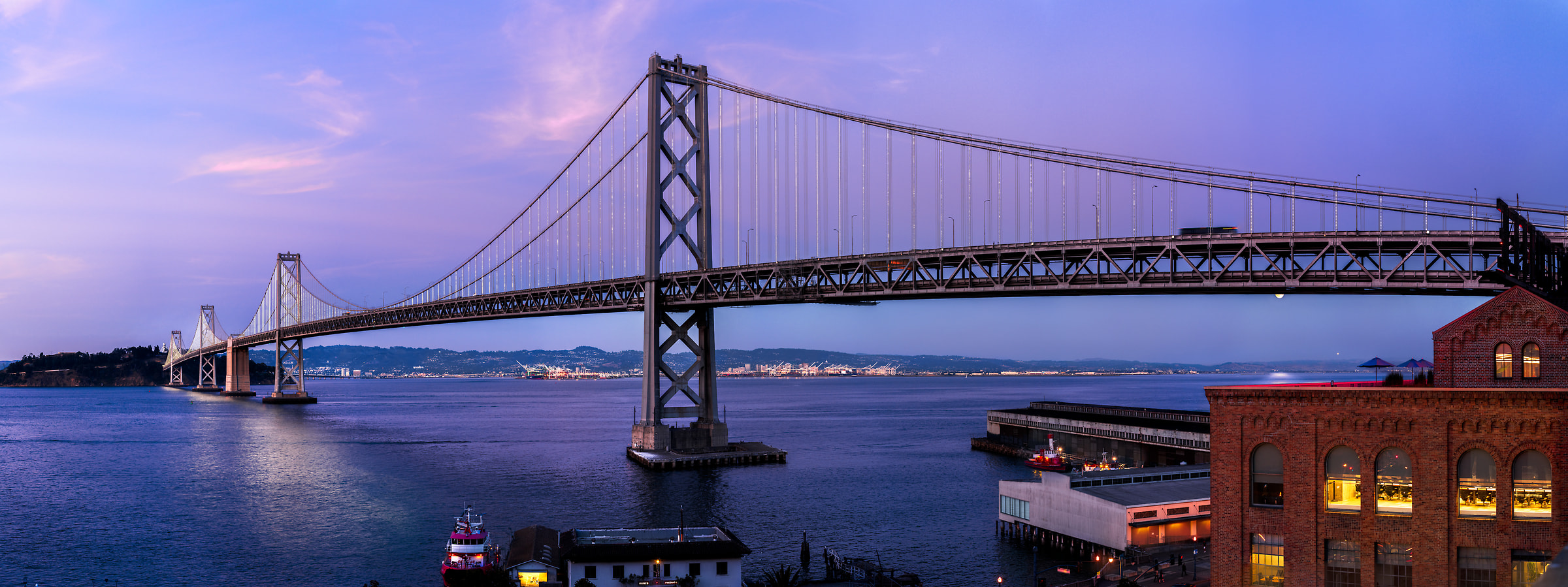 462 megapixels! A very high resolution, large-format VAST photo print of the San Francisco Bay Bridge at twilight; cityscape photograph created by Jim Tarpo in San Francisco, California
