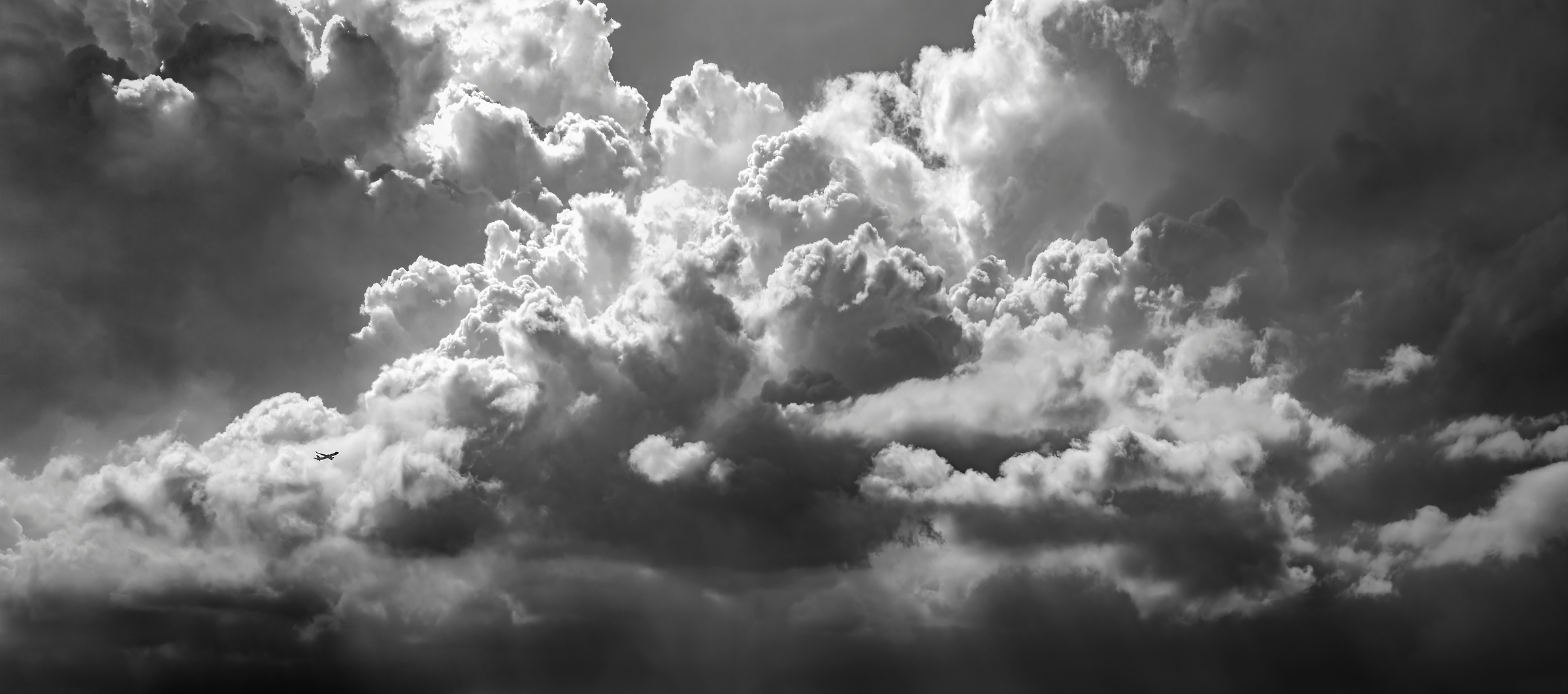 452 megapixels! A very high resolution, large-format, black & white VAST photo print of clouds; photograph created by Dan Piech in New York City