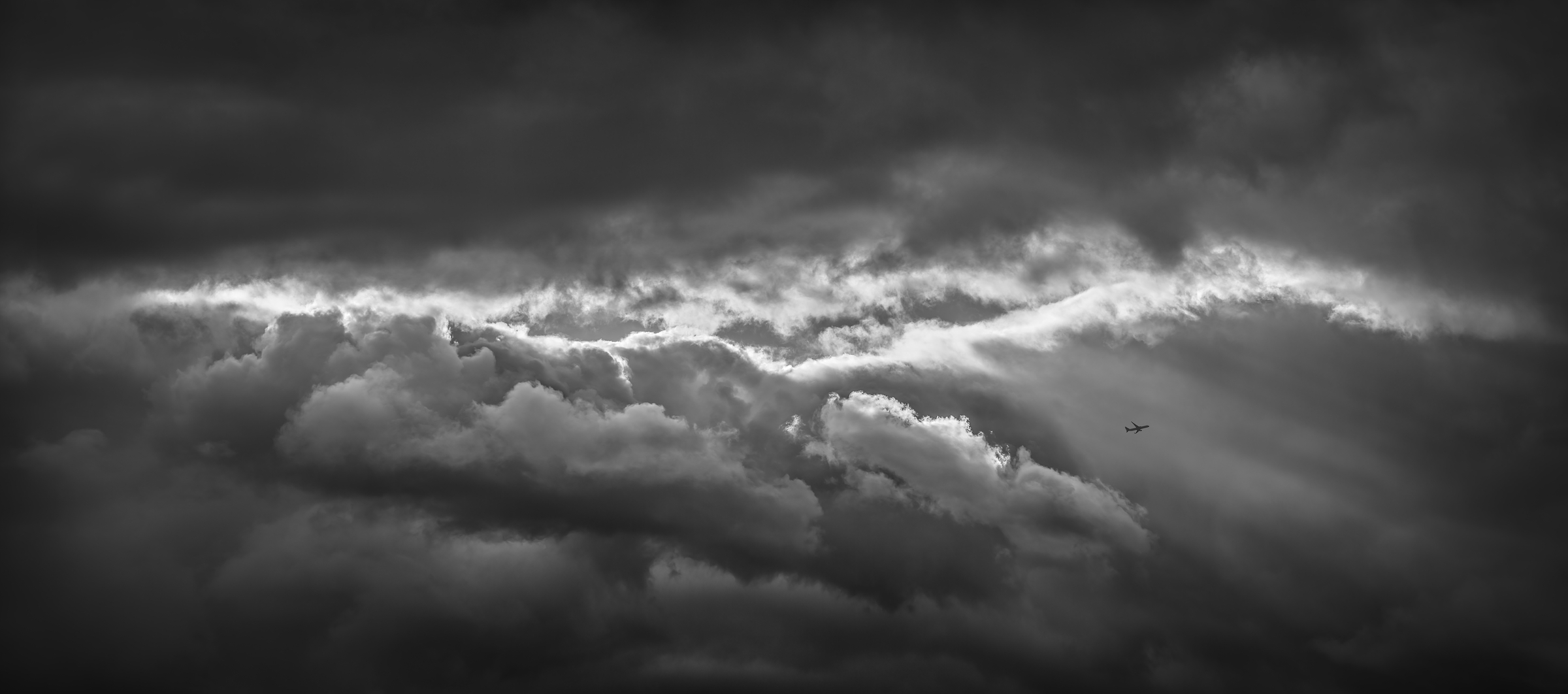532 megapixels! A very high resolution, black & white VAST photo print of an epic cloud formation; fine art photograph created by Dan Piech in New York City