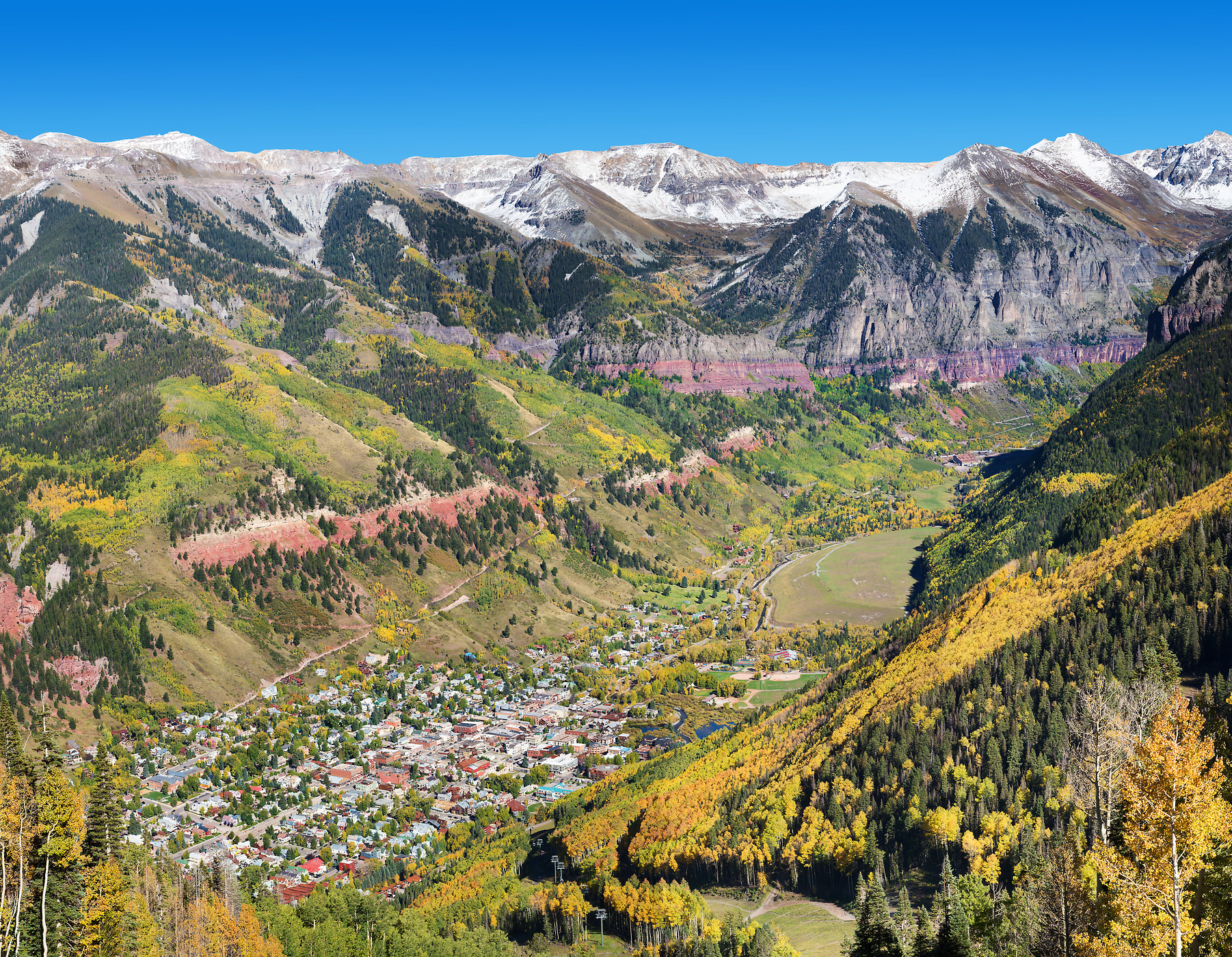 173 megapixels! A very high resolution, large-format VAST photo print of Telluride from a mountaintop looking down into the valley; landscape photograph created by Jim Tarpo in Telluride, Colorado