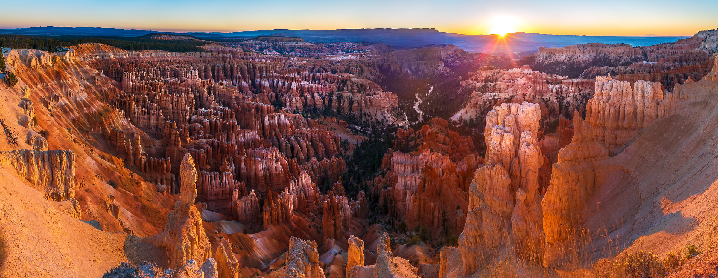 332 megapixels! A very high resolution, large-format VAST photo print of Bryce Canyon at sunrise; landscape photograph created by Jim Tarpo in Bryce Canyon, Utah