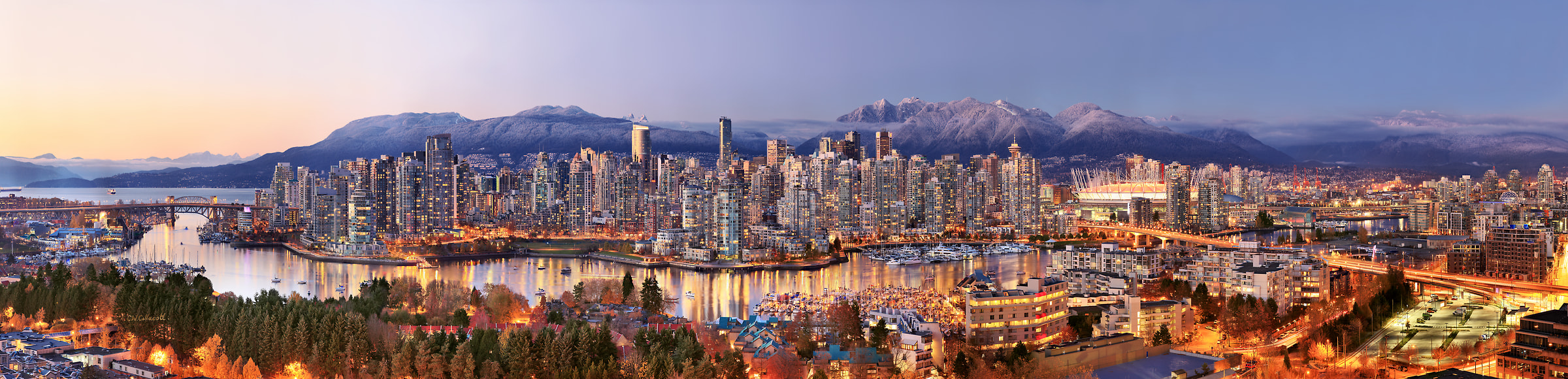 959 megapixels! A very high resolution, large-format VAST photo print of the Vancouver skyline; photograph created by Chris Collacott in Vancouver, British Columbia, Canada