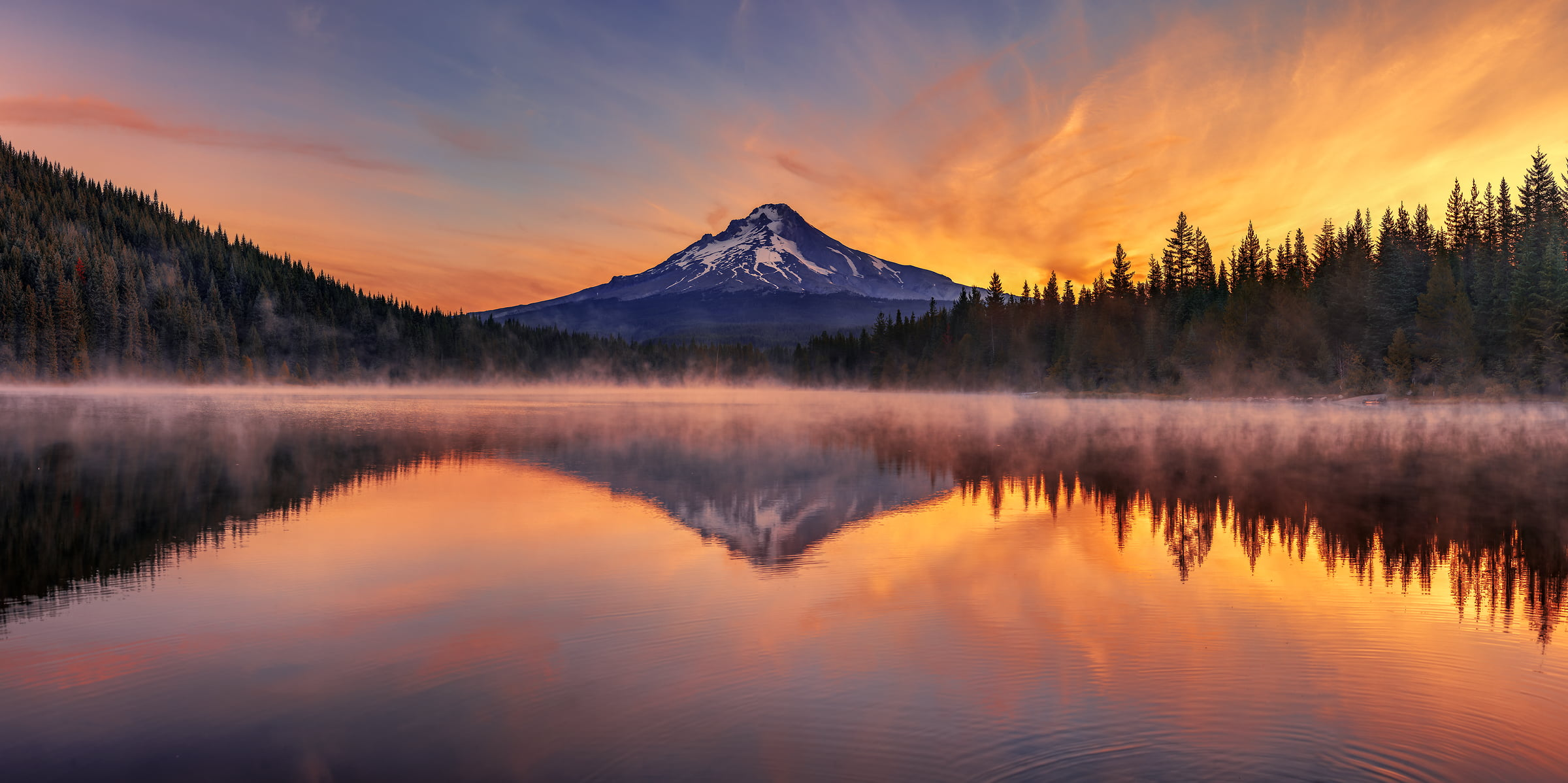 391 megapixels! A very high resolution, large-format VAST photo print of a beautiful landscape; photograph created by Chris Collacott in Trillium Lake, Oregon