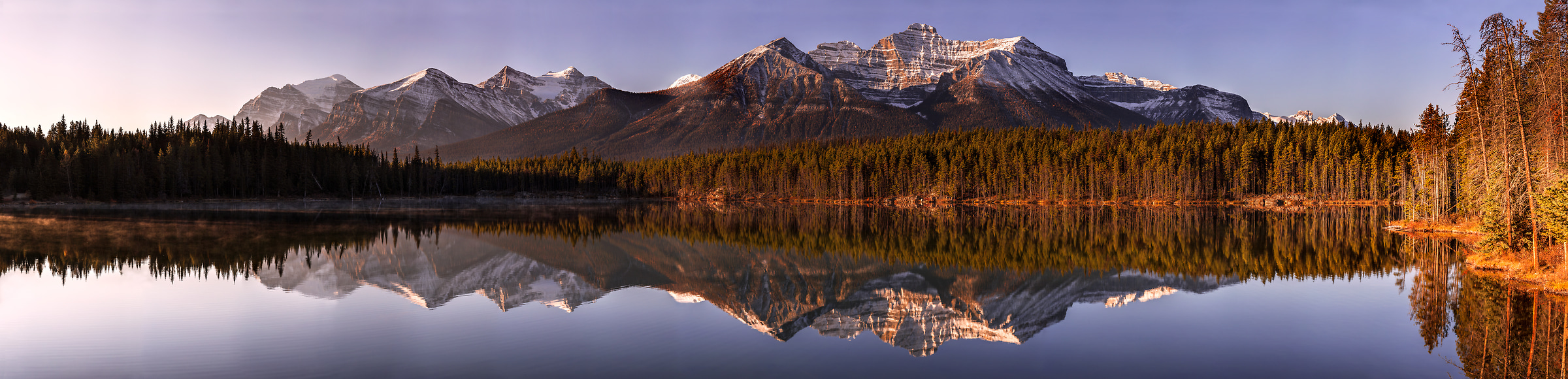 273 megapixels! A very high resolution, large-format VAST photo print of a panorama landscape; photograph created by Chris Collacott in Herbert Lake, Alberta, Canada