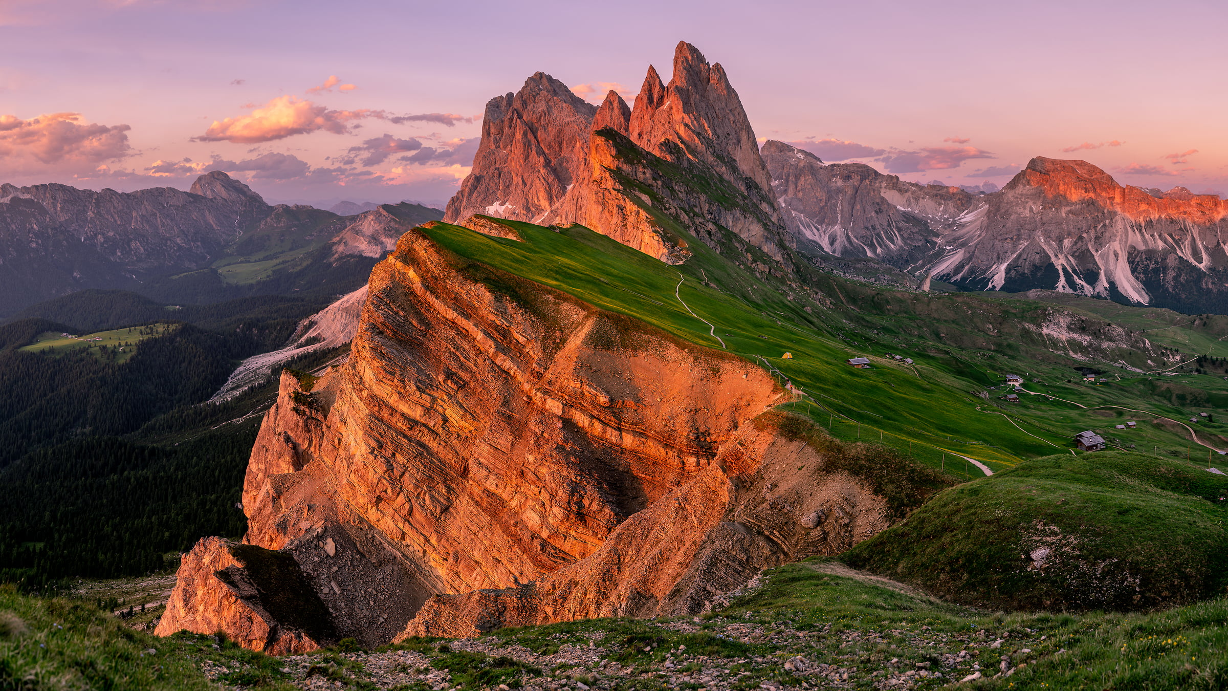 376 megapixels! A very high resolution, large-format VAST photo print of a landscape at sunset; landscape photograph created by Tim Shields in Seceda, Santa Cristina Valgardena, Italy