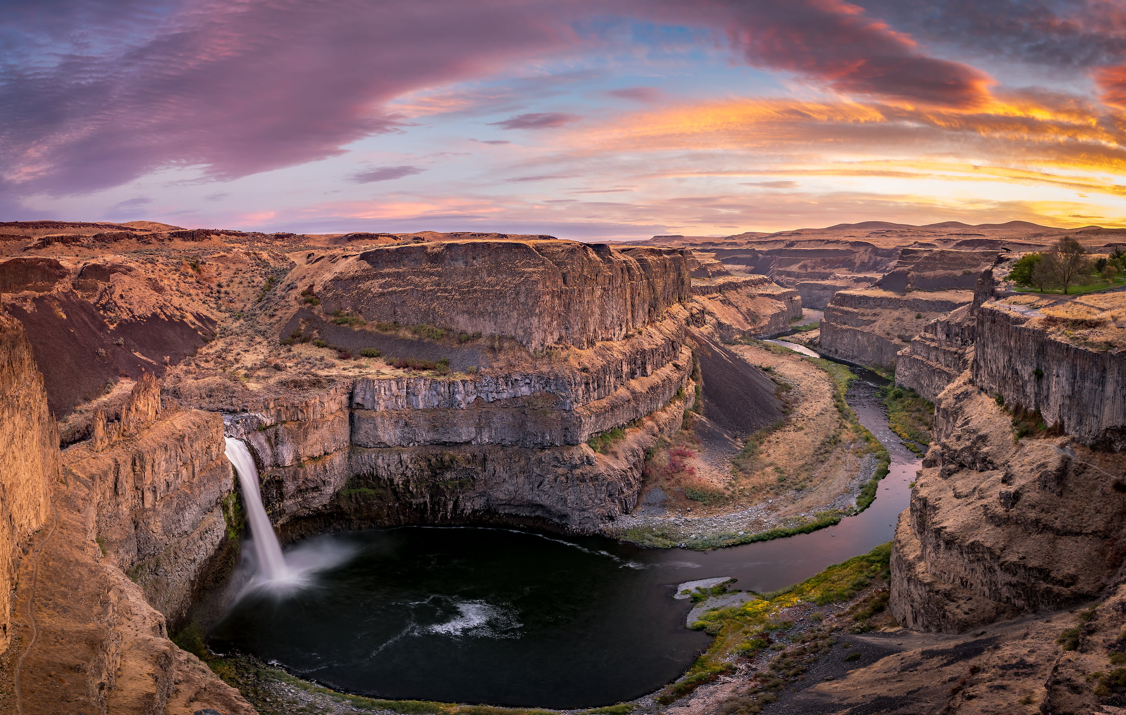 140 megapixels! A very high resolution, large-format VAST photo print of a canyon with a waterfall; landscape photograph created by Justin Katz in Palouse Falls, Washington