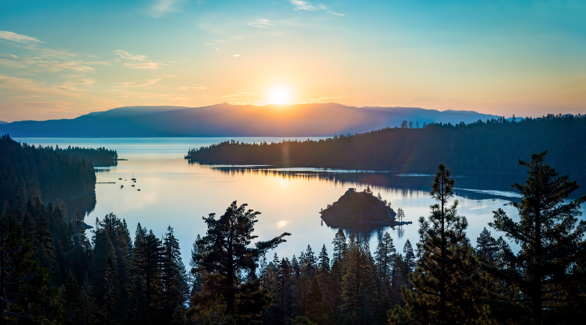 471 megapixels! A very high resolution, large-format VAST photo print of a sunrise over a lake; landscape photograph created by Justin Katz in Emerald Bay, Lake Tahoe, California