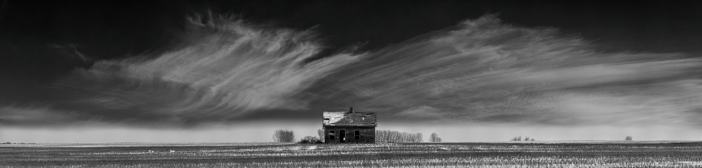 1,647 megapixels! A very high resolution, black and white VAST photo print of an abandoned house on a prairie with snow; landscape photograph created by Scott Dimond in Wheatland County, Alberta, Canada