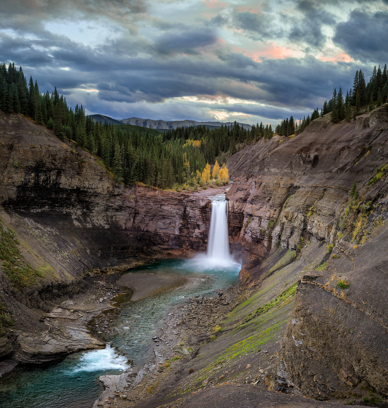 618 megapixels! A very high resolution, large-format VAST photo print of a waterfall in Ram Falls Provincial Park; landscape photograph created by Scott Dimond in Ram Falls Provincial Park, Alberta, Canada