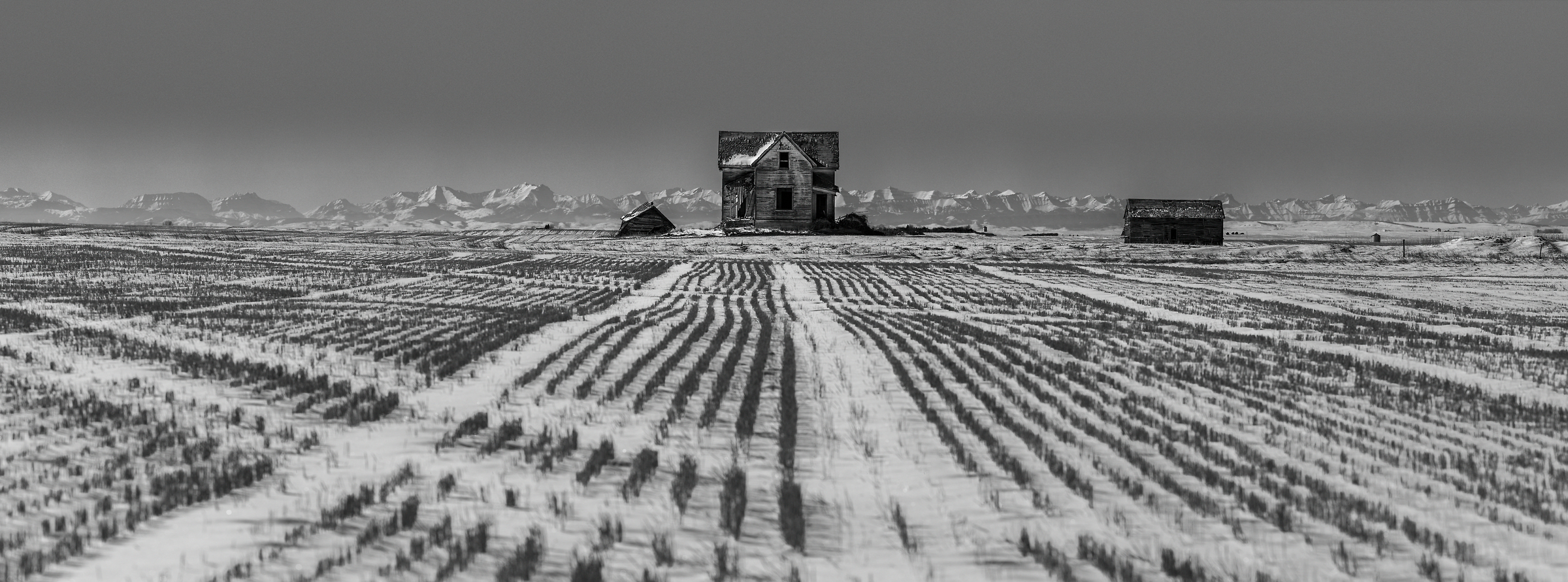 1,052 megapixels! A very high resolution, large-format VAST photo print of snow on a prairie with an abandoned house; black & white photograph created by Scott Dimond in Foothills County, Alberta, Canada