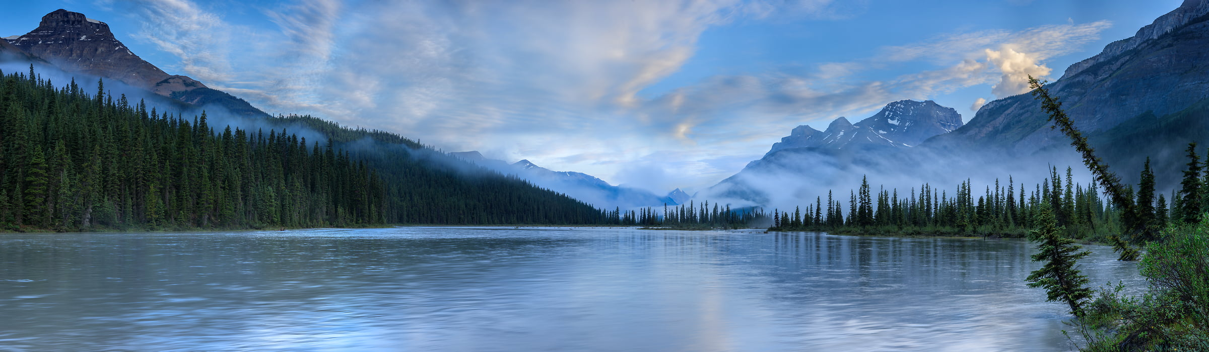 570 megapixels! A very high resolution, large-format VAST photo print of a peaceful lake in the morning with some foggy mist rising; landscape photograph created by Scott Dimond in Banff National Park, Alberta, Canada