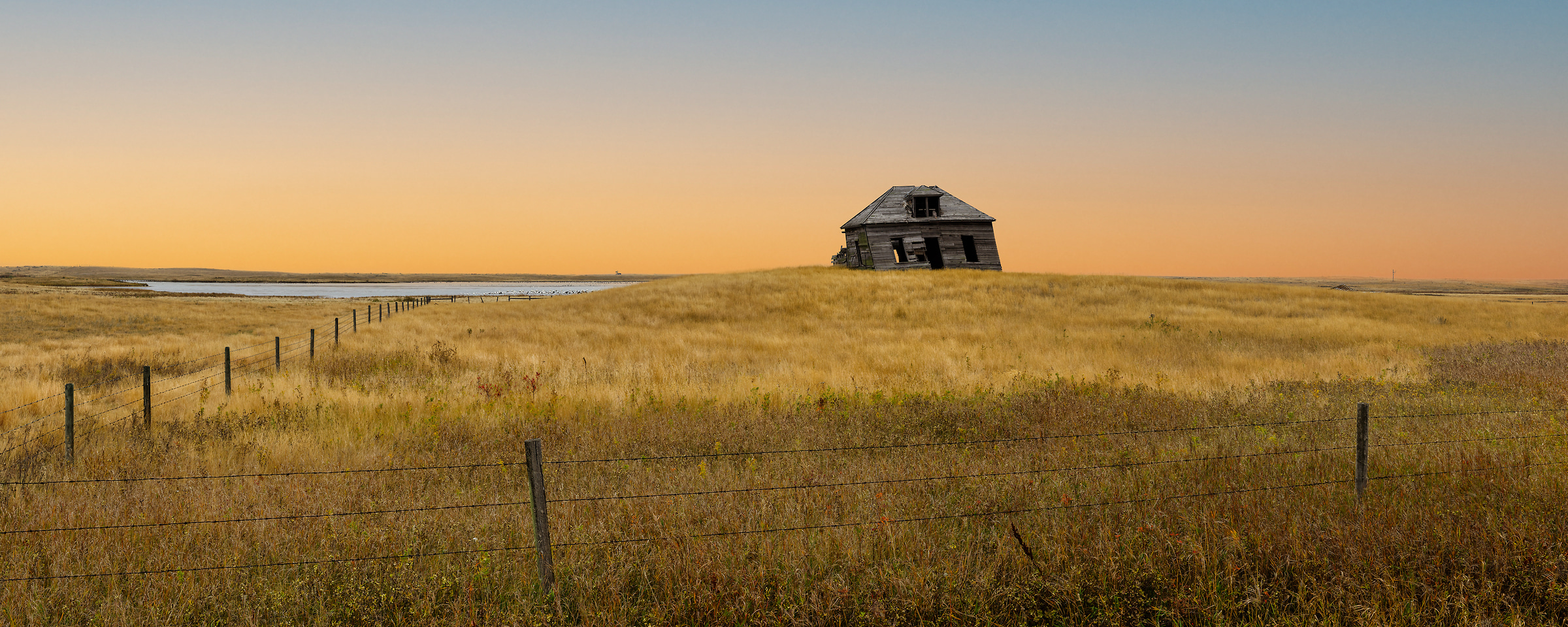 863 megapixels! A very high resolution, large-format VAST photo print of an abandoned house in a field at sunrise; landscape photograph created by Scott Dimond in Vulcan County, Alberta, Canada