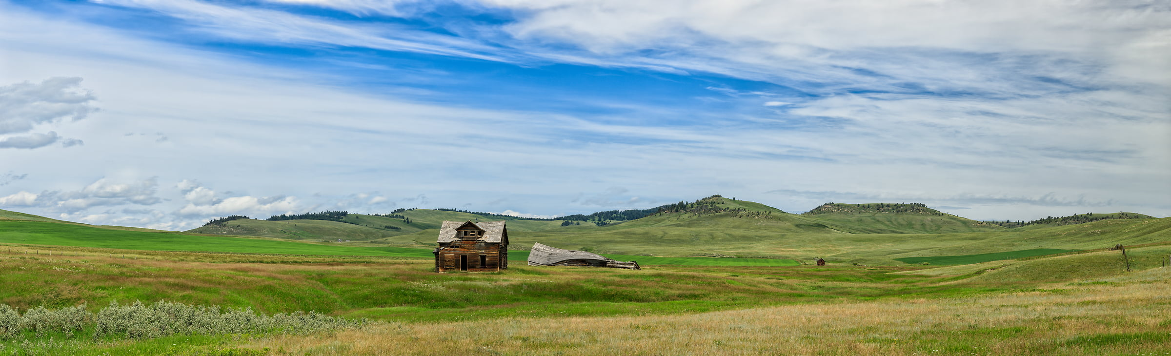 232 megapixels! A very high resolution, large-format VAST photo print of a house on a prairie; landscape photograph created by Scott Dimond in Pincher Creek No. 9, Alberta, Canada